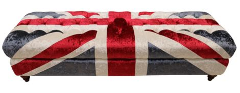 Ariel Union Jack Chesterfield Ottoman Velvet Fabric Footstool