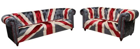 Arden Union Jack Chesterfield Luxury Velvet Sofa