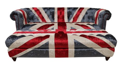 Ashton Union Jack Chesterfield 2 Seater Sofa With Matching Ottoman Footstool In Plush Velvet