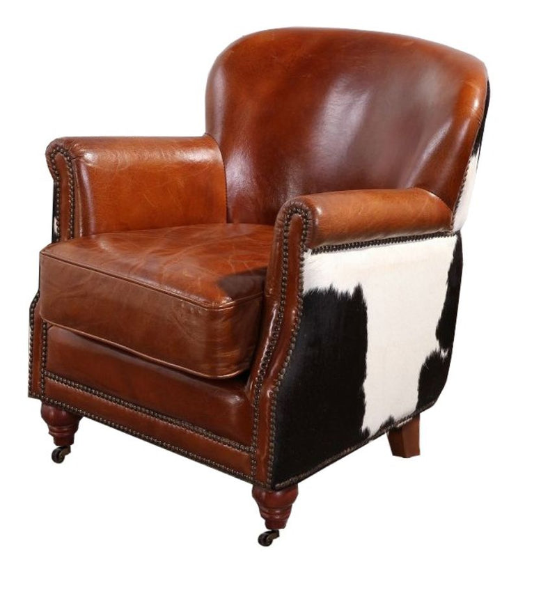 Hair On Hide Black Cow Vintage Distressed Leather Armchair
