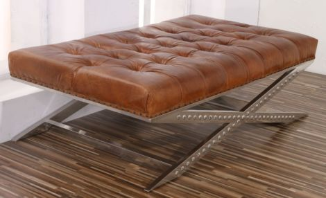 Arden Vintage Buttoned Leather Chesterfield Footstool Criss Cross