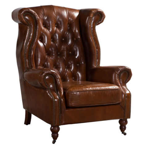 Vintage Chesterfield Distressed Leather High Back Chair