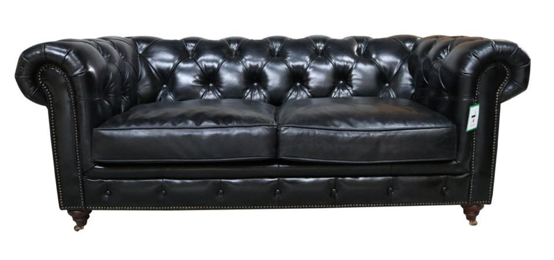 Chippenham Vintage Distressed Black Leather Chesterfield 2 Seater Sofa