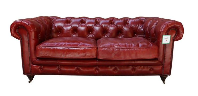 Adela Vintage Distressed Rouge Red Leather Chesterfield 2 Seater Sofa