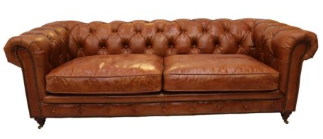 Barnet Vintage Distressed Tan Leather Chesterfield 3 Seater Sofa