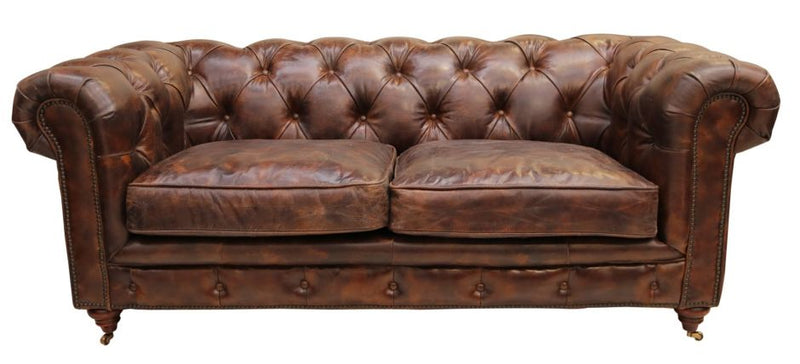Ariel Vintage Distressed Tobacco Leather Chesterfield 2 Seater Sofa