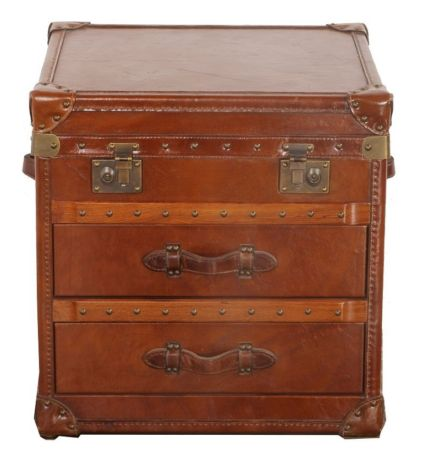 Arden Vintage Leather 2 Drawer Trunk