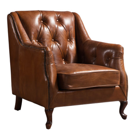 Luxury Vintage Distressed Leather Button & Stud Armchair