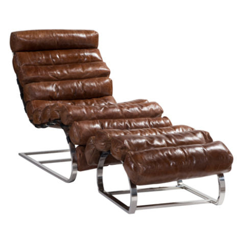 Vintage Distressed Leather Chaise Lounge With Footstool