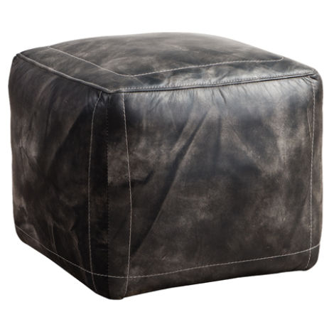Arden Vintage Distressed Leather Footstool Pouffe