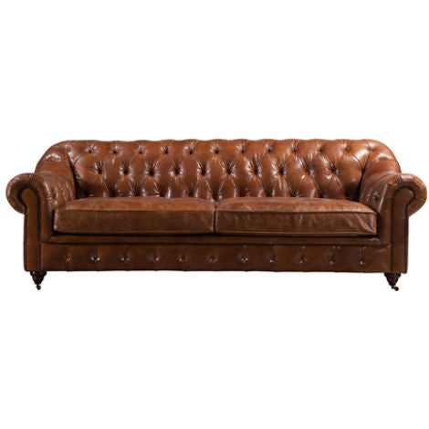 Bacup Chesterfield Vintage Distressed Leather Sofa Suite