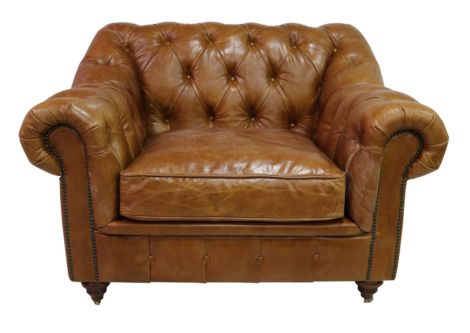 Wellington Chesterfield Vintage Tan Distressed Leather Armchair