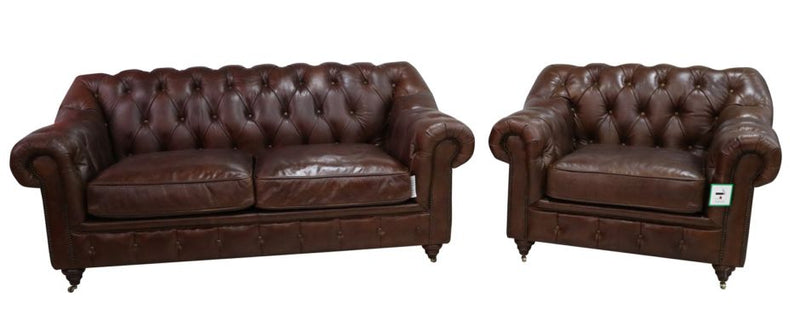 Wellington Chesterfield 2+1 Vintage Brown Distressed Leather Sofa Suite