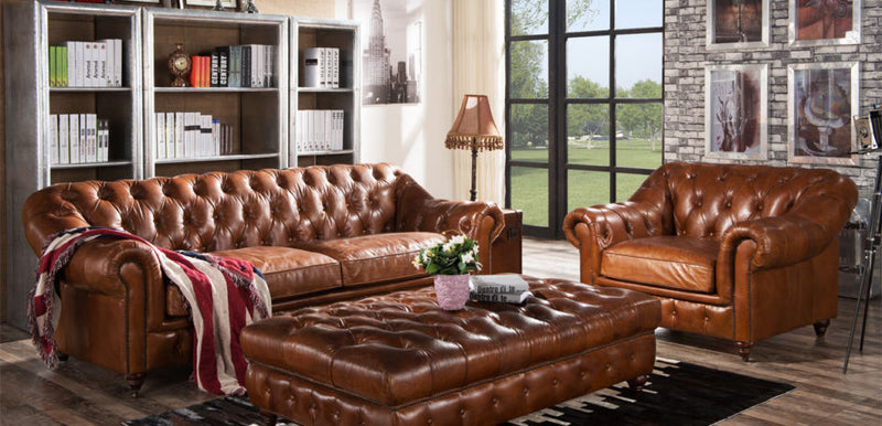 Ashton Chesterfield Vintage Distressed Leather Sofa Suite