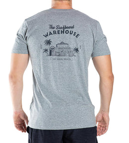 RETRO SURFBOARD WAREHOUSE T-SHIRT - GREY