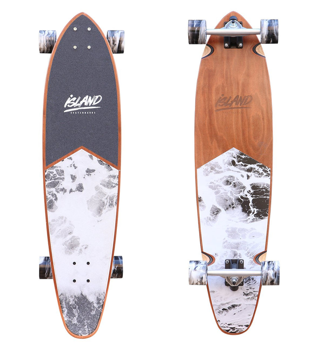 "ISLAND - 38"" BLACK LONGBOARD PINTAIL - The Surfboard Warehouse Australia"