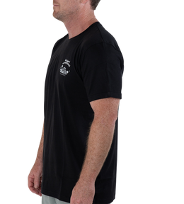 RETRO SURFBOARD WAREHOUSE T-SHIRT - BLACK