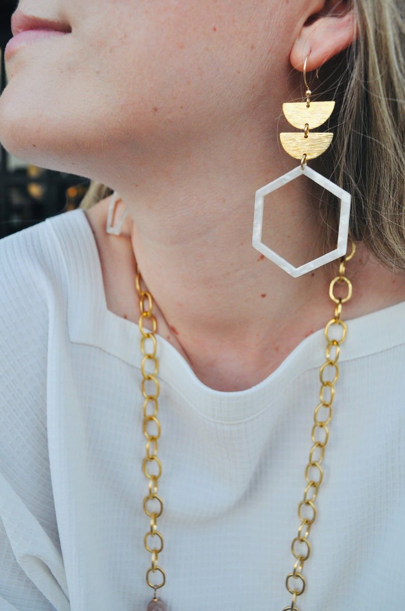 Tiered Hexagon Earrings