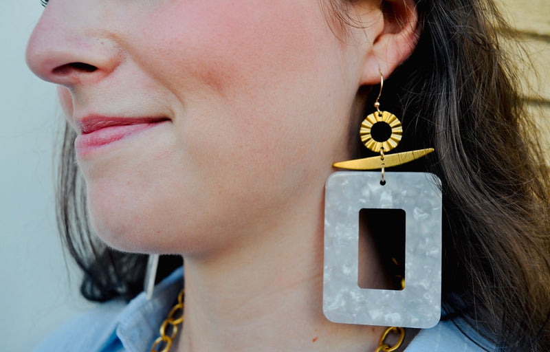 Large Acrylic Rectangle Earrings