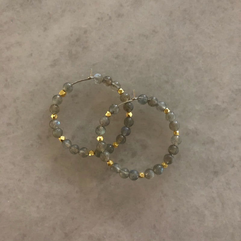 Gemstone Beaded Hoops - Small