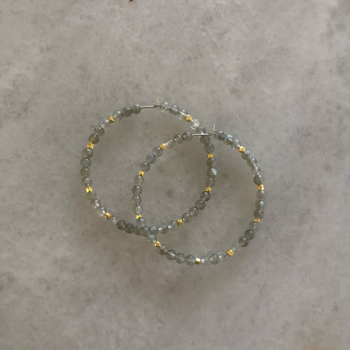 Gemstone Beaded Hoops - Large