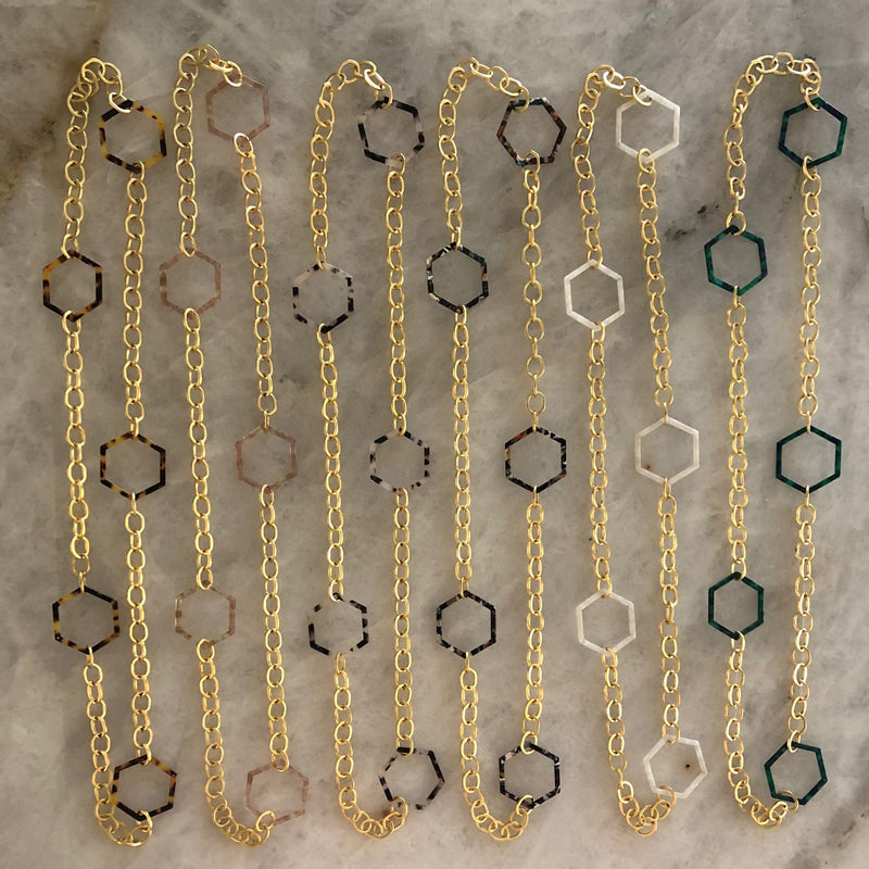 Acrylic Hexagon Necklace