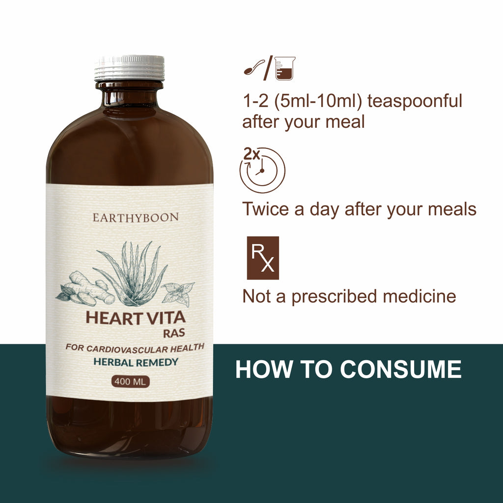 EARTHY BOON Heart Vita Ras & Capsule Combo for Healthy Heart (400ml Juice + 60 Capsule) - Earthyboon India