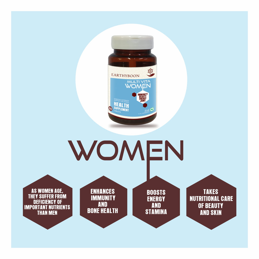 EARTHY BOON Multi Vita Women Multivitamin Supplement for Beauty, Immunity, Energy & Joint - Earthyboon India