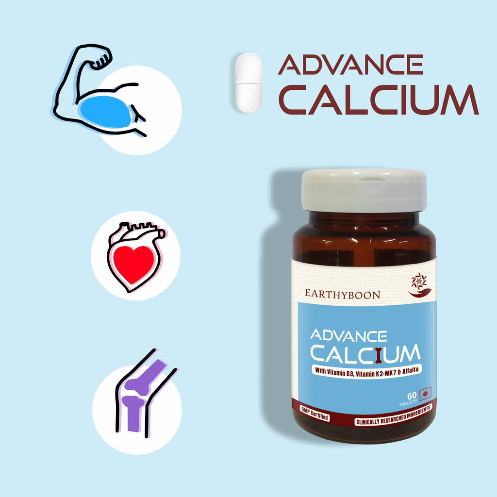 Earthyboon Advance Calcium With D3, K2 & Alfalfa - Earthyboon India