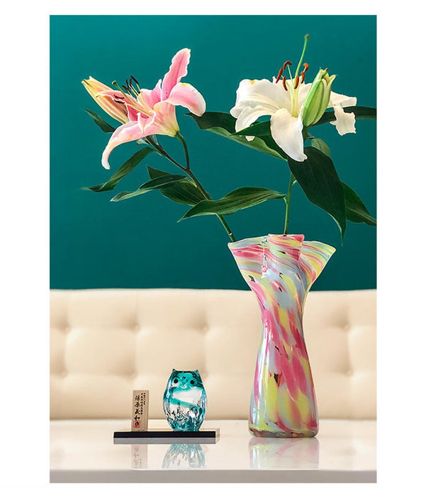 Colourful Glass Flower Frill Vase Series