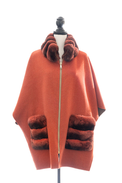 Pumpkin Taupe Double Face Cashmere Blend Cape with Chinchilla Trim