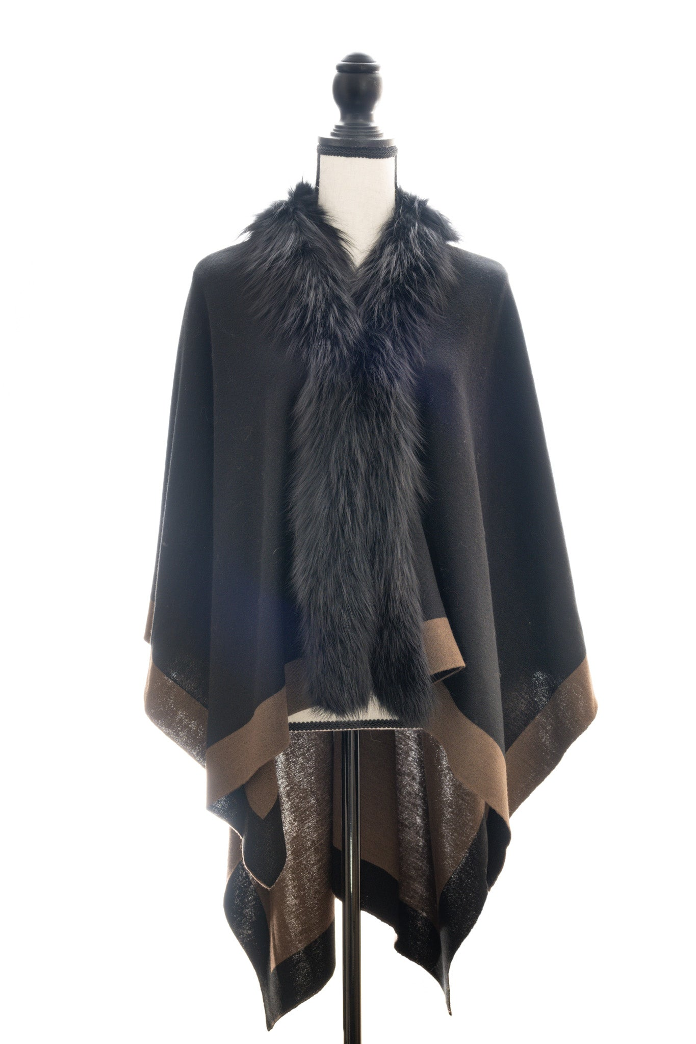 Two-Toned Reversible Wrap Trimmed with Silver Fox, Black/Brown