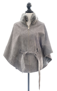 Zippered Suede Poncho with Detachable Sheared Rex Collar, One Size