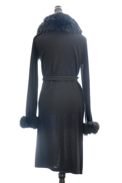 Black Cashmere Duster with Detachable Raccoon Belt