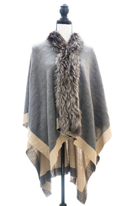 Two-Toned Reversible Wrap Trimmed with Silver Fox, Charcoal/Beige