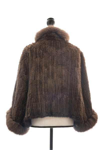 Knitted Mink & Fox Capelet, Brown