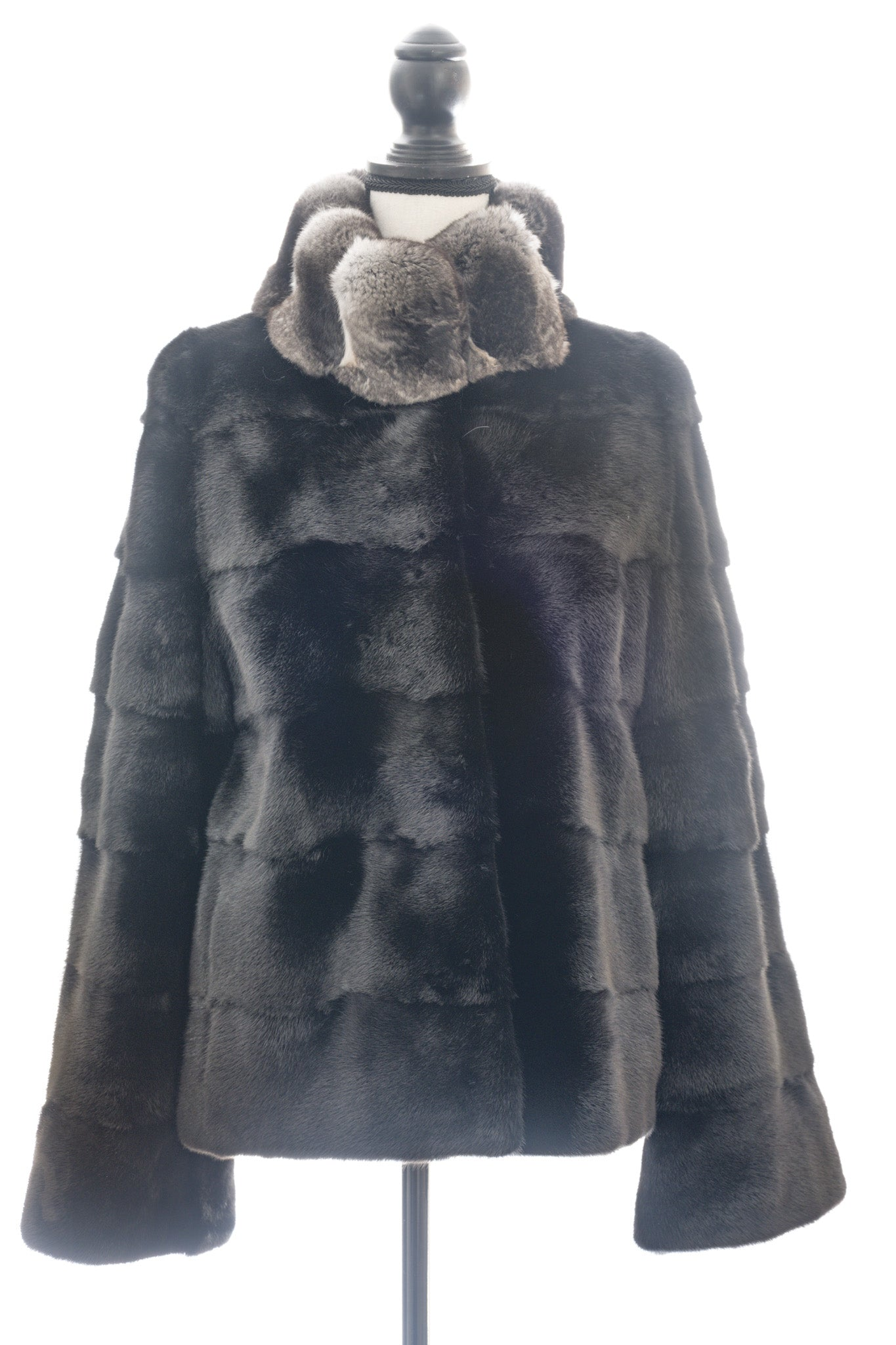 Ranch Horizontal Mink Jacket with Chinchilla Collar