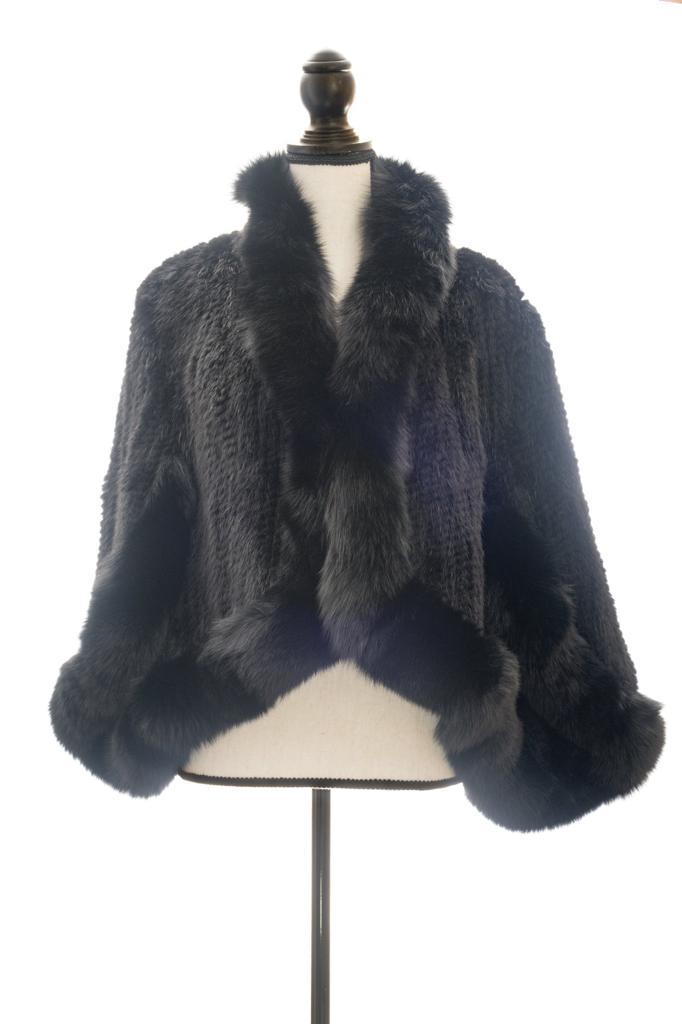 Knitted Mink & Fox Capelet, Black