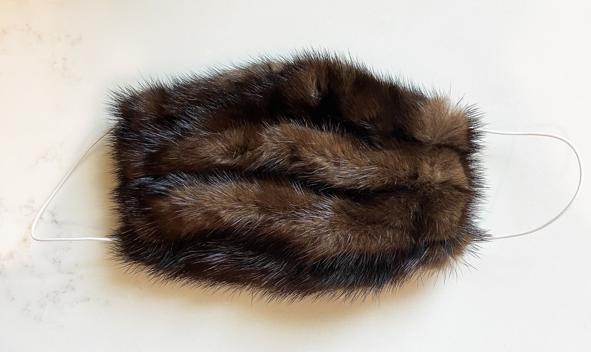 Mahogany Mink Fur Face Mask (Please note, masks are now made with a black fabric ear loop)