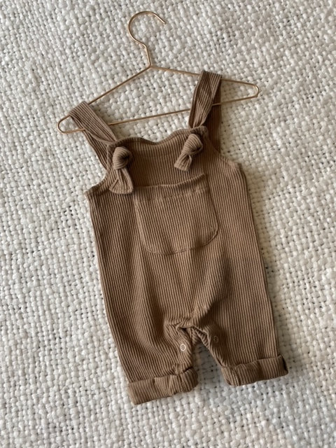 Basic Ribbed Overalls  - Chocolate