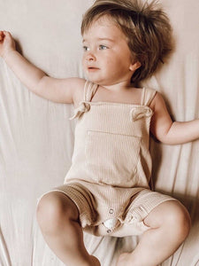 Basic Ribbed Overalls  - Latte