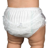 Baby Girls White Nylon Rumba Diaper Cover Bloomers, (NB to XL) - I.C. Collections - Laura Dare Sleepwear
