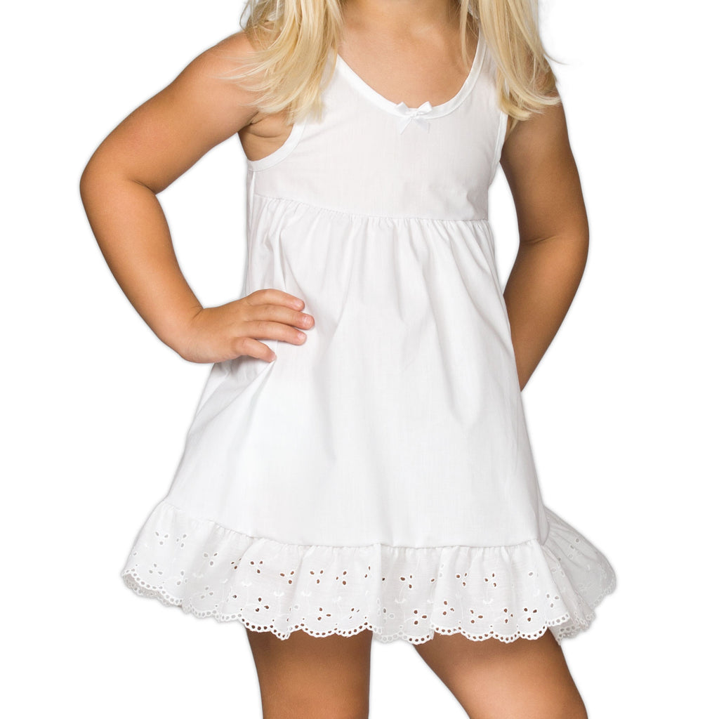 Little Girls White Adjustable Tea-Length Full-Slip, (3month - 6x) - I.C. Collections - Laura Dare Sleepwear - 1