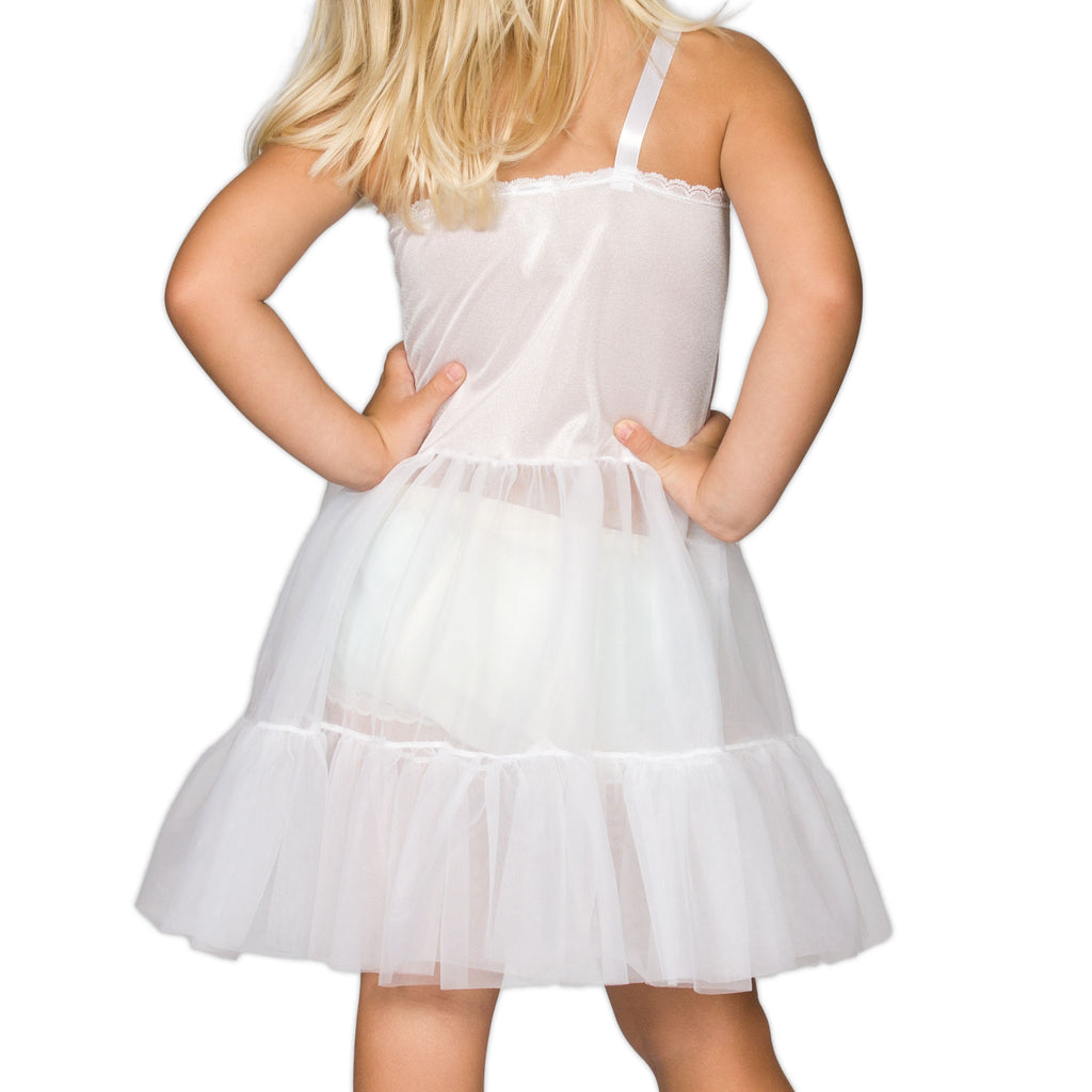 Girls White Bouffant Sweetheart Full-Slip, (2T - 14) - I.C. Collections - Laura Dare Sleepwear - 2