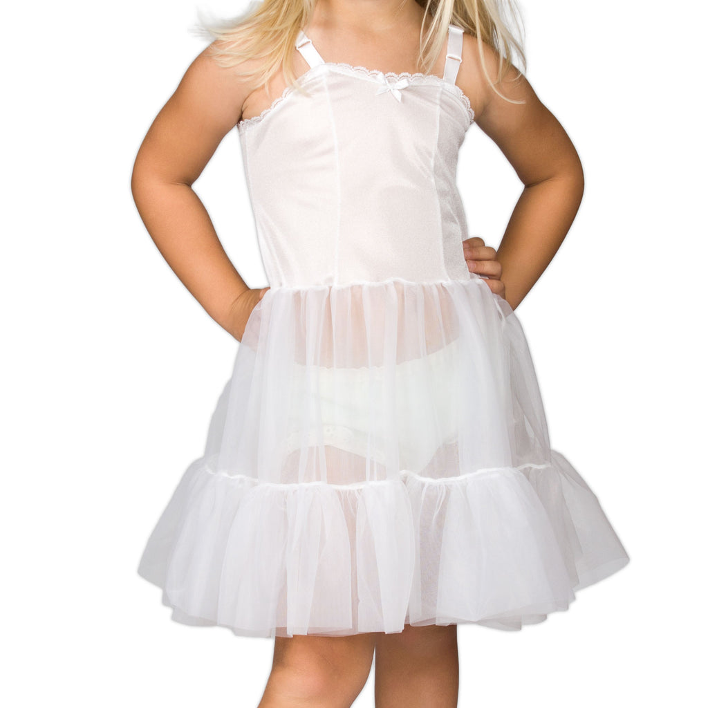 Girls White Bouffant Sweetheart Full-Slip, (2T - 14) - I.C. Collections - Laura Dare Sleepwear - 1