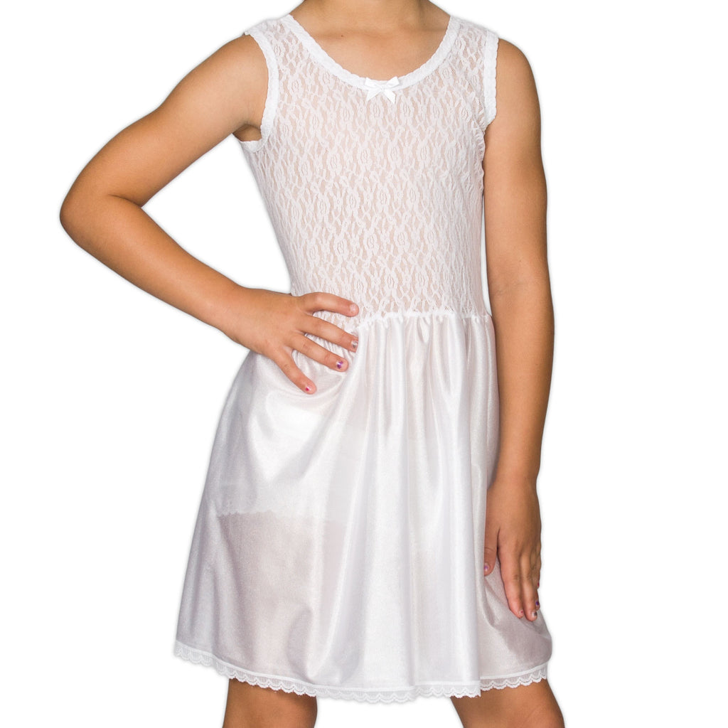 Girls White Stretch Lace Full-Slip, (2T - 16) - I.C. Collections - Laura Dare Sleepwear - 1