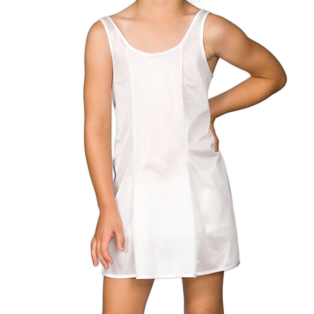 Girls White Sleek Nylon Full-Slip, (4-16) - I.C. Collections - Laura Dare Sleepwear - 1