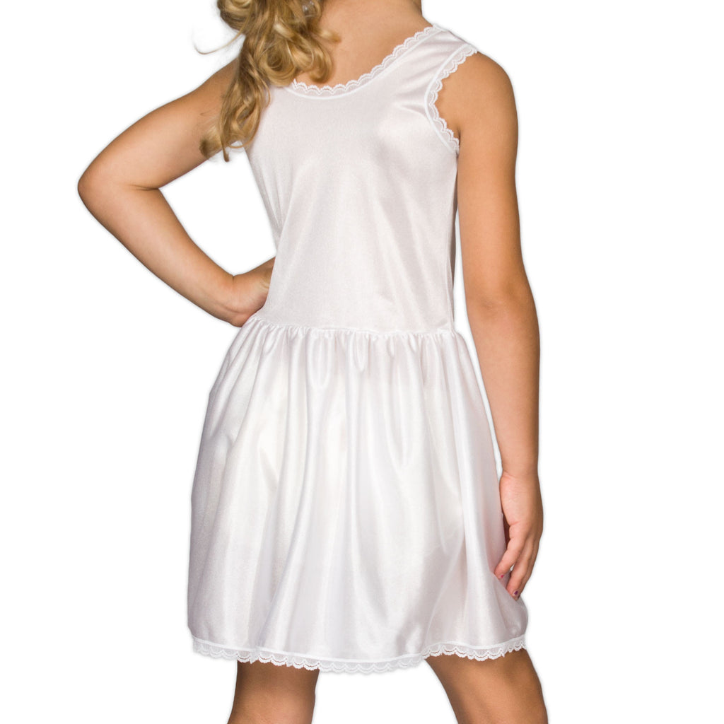 Girls White Simple Nylon Full-Slip, (4-14) - I.C. Collections - Laura Dare Sleepwear - 2