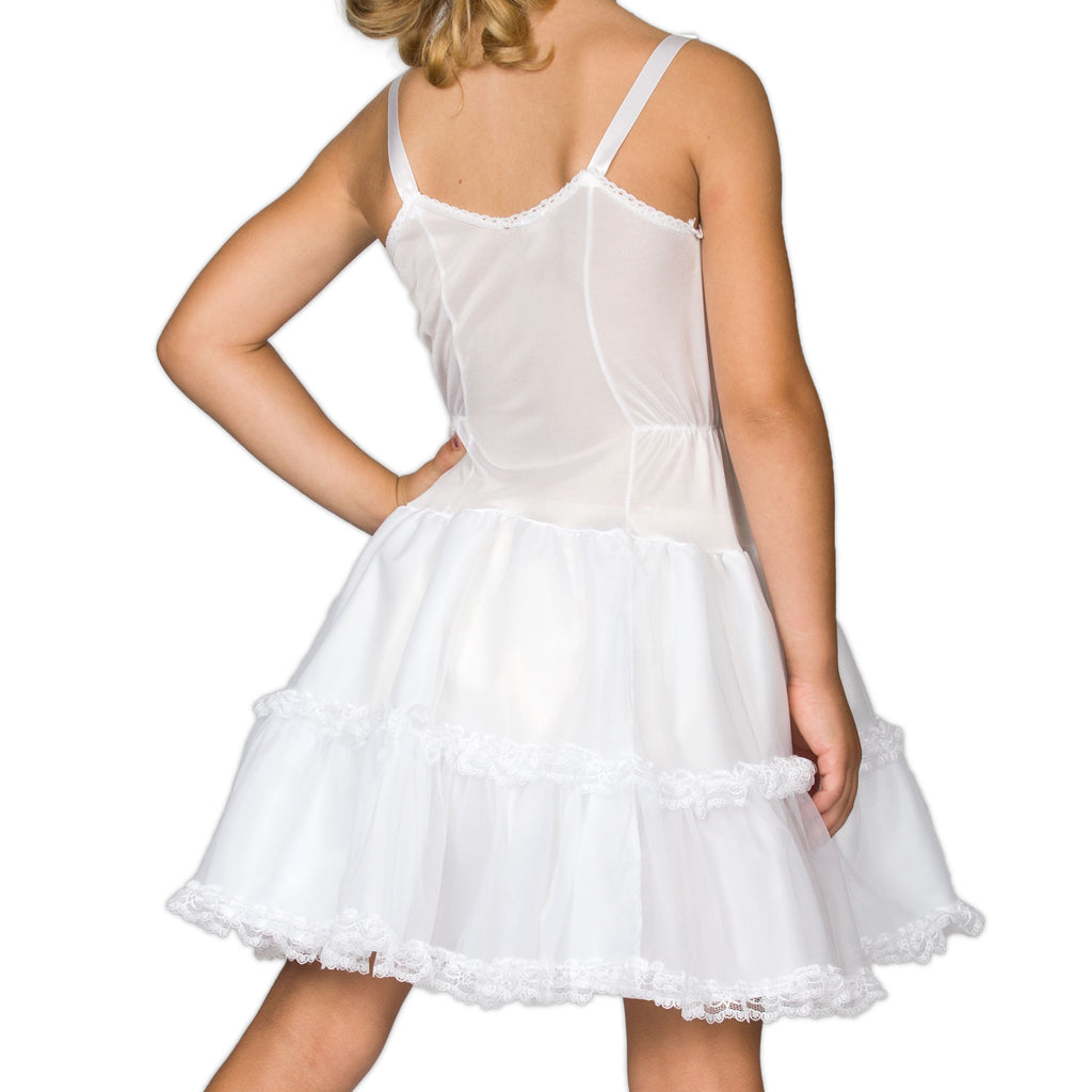 Girls White Bouffant Full-Slip Petticoat - Lace Embellished, (4 -14) - I.C. Collections - Laura Dare Sleepwear - 2
