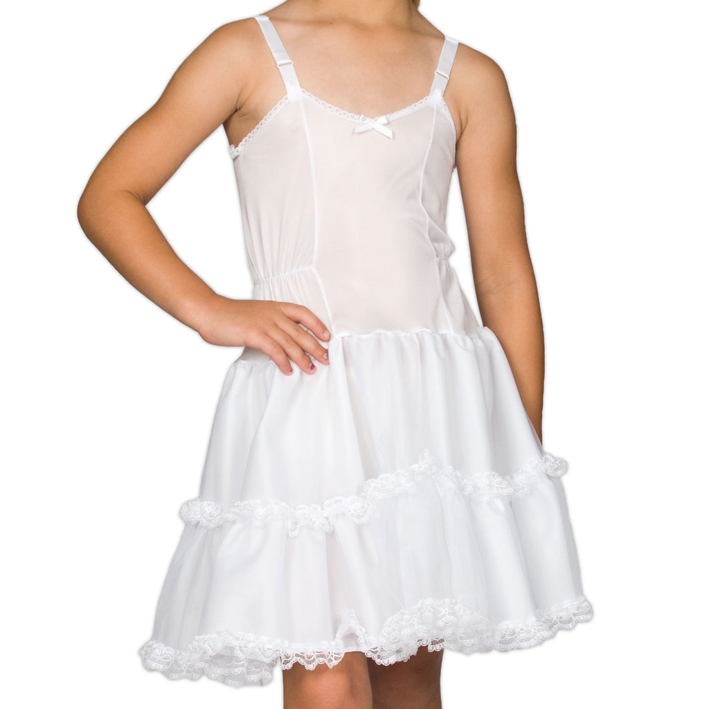 Girls White Bouffant Full-Slip Petticoat - Lace Embellished, (4 -14) - I.C. Collections - Laura Dare Sleepwear - 1
